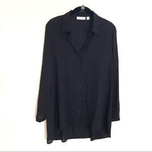 Silky Long Black Button Up Collared Tunic Blouse